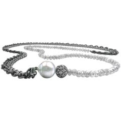 Liza Beth Long Faceted Gray Moonstone Pearl Diamond Bead Triple Chain Necklace