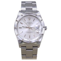 Rolex Date 15210 Stainless Steel Turned Engine Bezel Silver Dial
