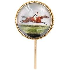 "Essex Crystal Stick Pin Painted ""Horse & Jockey"", 14 Karat Yellow Gold"