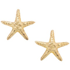 18K Yellow Gold Starfish Petite Stud Earrings