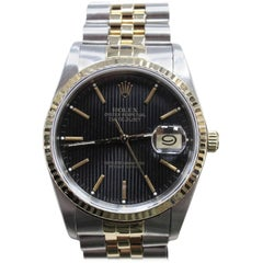 Rolex 16233 Datejust Black Tapestry Dial 18 Karat Gold and Stainless Steel