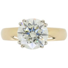2.20 Carat Round Brilliant Cut Diamond Solitaire Engagement Ring