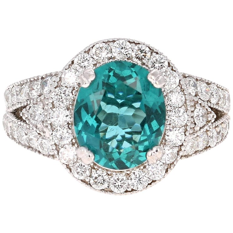 4.47 Carat Apatite Diamond White Gold Cocktail Ring