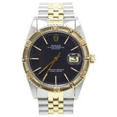 Rolex Datejust Thunderbird 1625 Black Dial 14 Karat Yellow Gold Stainless Steel