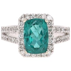 3.95 Carat Apatite Diamond White Gold Cocktail Ring