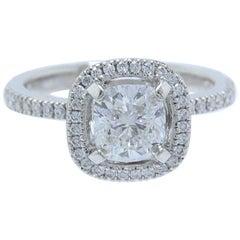 Simon G Halo Diamond Ring Pave Band Cushion 1.31 Carat F VVS1 Platinum