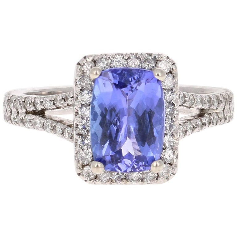 2.85 Carat Tanzanite Diamond Cocktail White Gold Ring