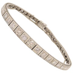 Custom Midcentury 14 Karat White Gold Diamond Tennis Bracelet