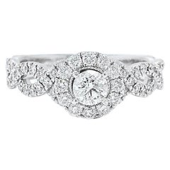 Neil Lane Diamond Engagement Ring Round 1.00 Carat in 14 Karat White Gold