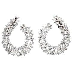 Large Diamond Wreath Cluster Hoop Earrings