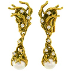 Arthur King Pearl Diamond Yellow Gold Earrings