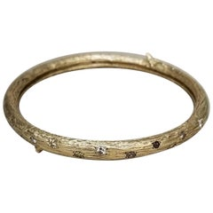 14 Karat Yellow Gold and Diamond Bark Bangle