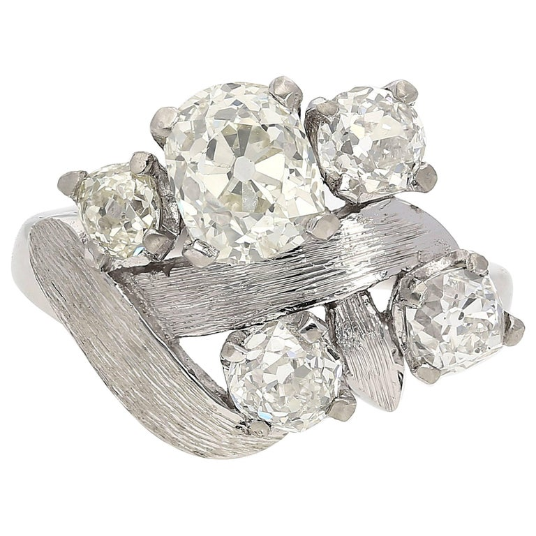 Art Deco Era Old-European Cut White Diamond Cluster Ring