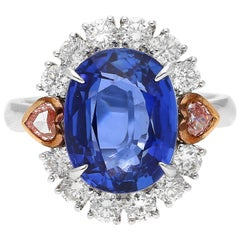 GRS Certified 7.25 Carat Oval-Cut Unheated Ceylon Sapphire and Diamond Ring