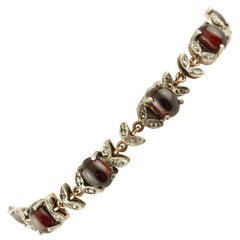 Garnet, Diamonds Rose Gold and Silver Link Bracelet