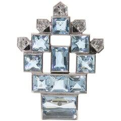 Cartier Aquamarine and Diamond Platinum Brooch, circa 1940