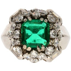 Emerald and Diamond Platinum Cocktail Ring, circa 1940-1950