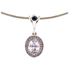 Kian Design 18 Carat White Gold White-Pink Ceylon Sapphire and Diamond Necklace