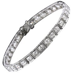 Art Deco Platinum Diamond Line Bracelet