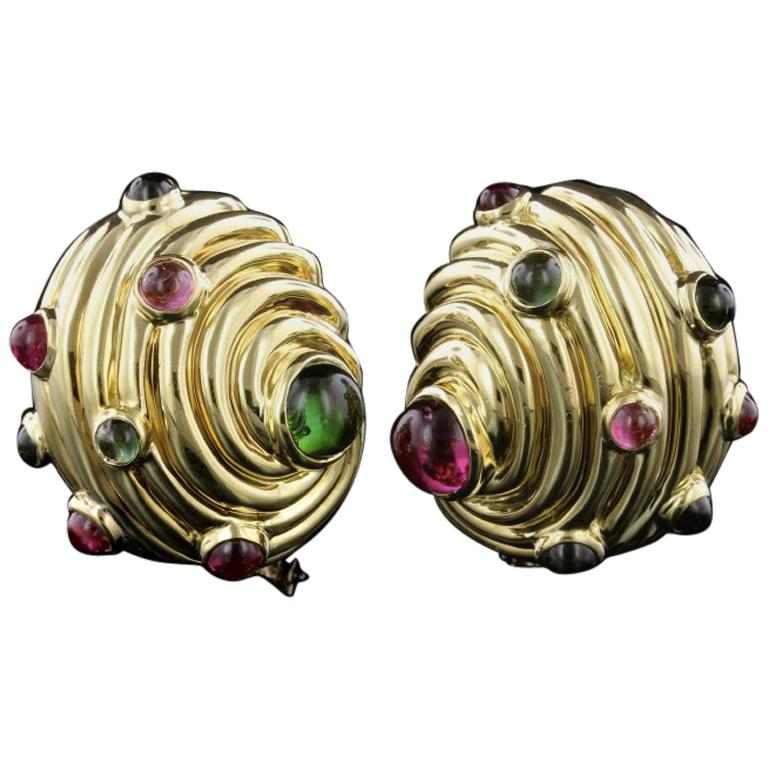 Judith Leiber 18 Karat Yellow Gold Tourmaline S Earrings For