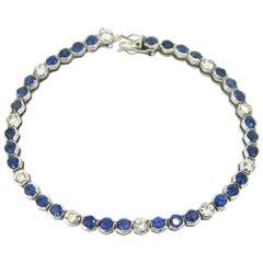 Sapphires Diamonds White Gold Tennis Bracelet
