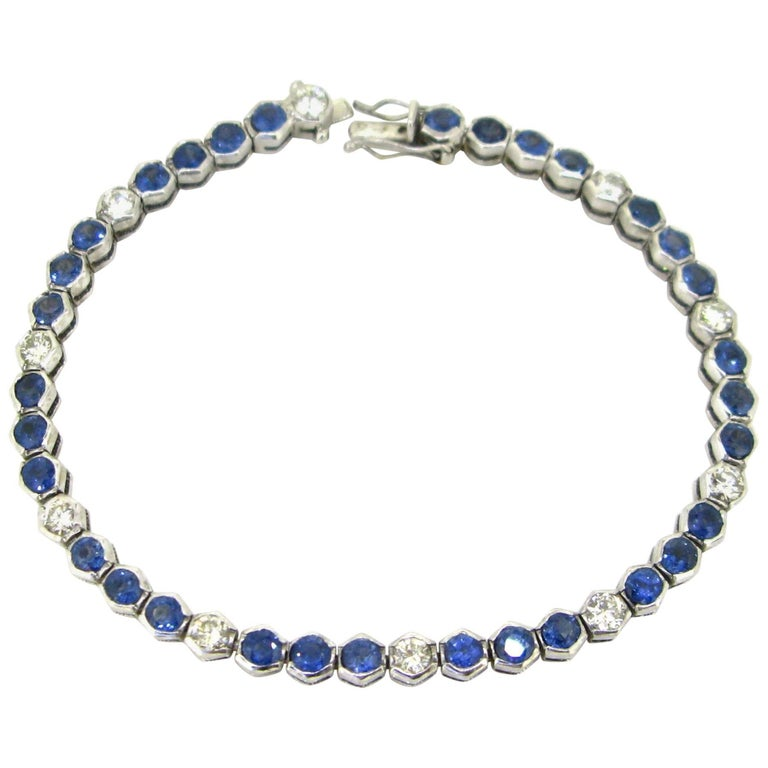 Sapphires Diamonds White Gold Tennis Bracelet