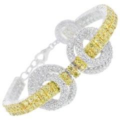 950 Fine Siledium Silver Rhodium Palladium White and Yellow Stones Bracelet