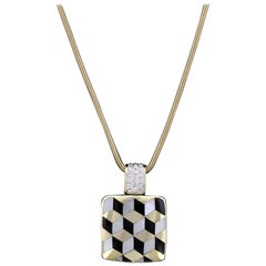 Asch Grossbardt 14 Karat Yellow Gold Mother-of-Pearl, Onyx and Diamond Pendant