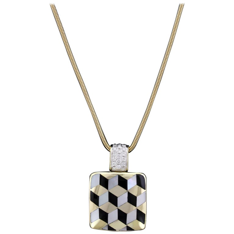 Asch Grossbardt 14 Karat Yellow Gold Mother-of-Pearl, Onyx and Diamond Pendant