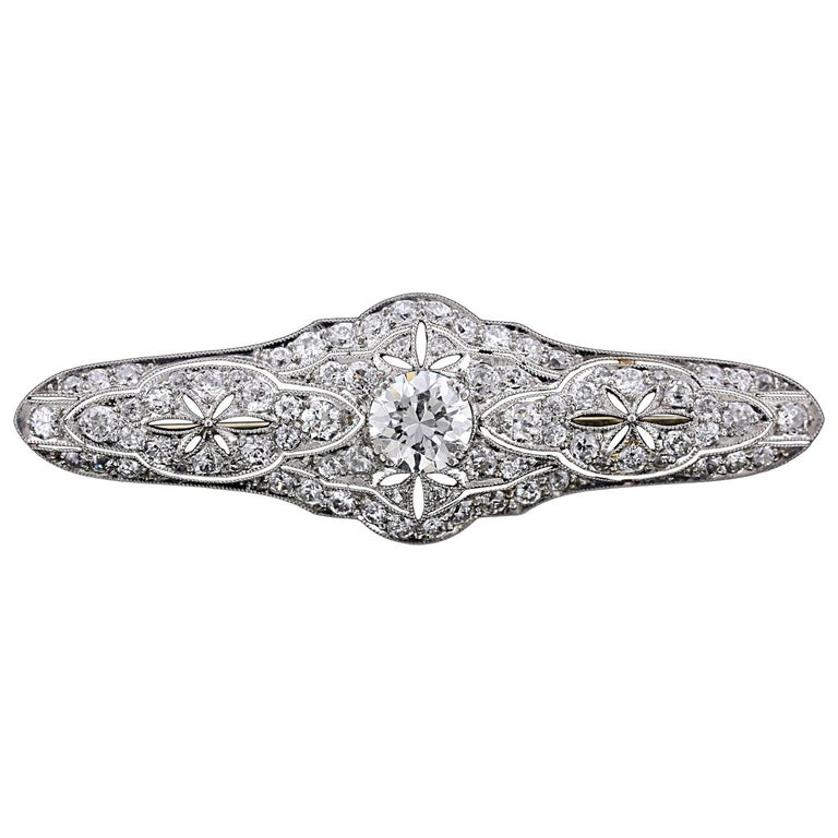 Art Deco Platinum Diamond Bar Pin