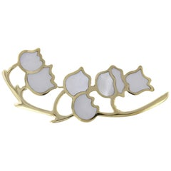 Tiffany & Co. 18 Karat Yellow Gold Mother-of-Pearl Lily of the Valley Brooch