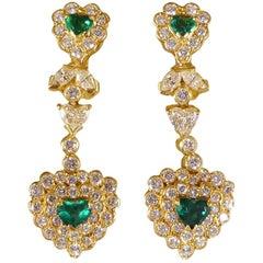 Emerald and Diamond Encrusted Heart Shaped 18 Carat Gold Drop Earrings