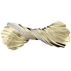Tiffany & Co. 18 Karat Yellow Gold Diamond Bow Brooch
