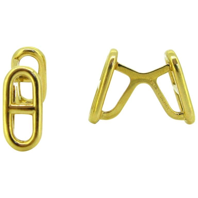 Marine Yellow Gold Cufflinks by Hermes Paris