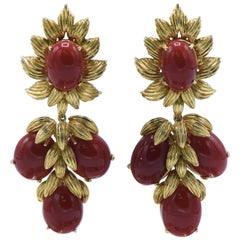 Ox Blood Coral Stone and 18 Karat gold Sunflower Dangle Earrings