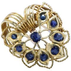 Cartier, Monture, French 18 Karat Gold and Kashmir Sapphire Clip Brooch
