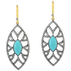 Meghna Jewels Bora Bora Marquise Earrings Turquoise and Diamonds