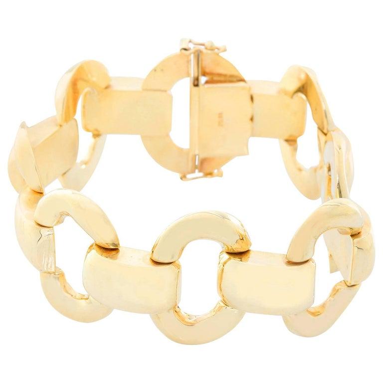 14 Karat Yellow Gold Oval Link Bracelet