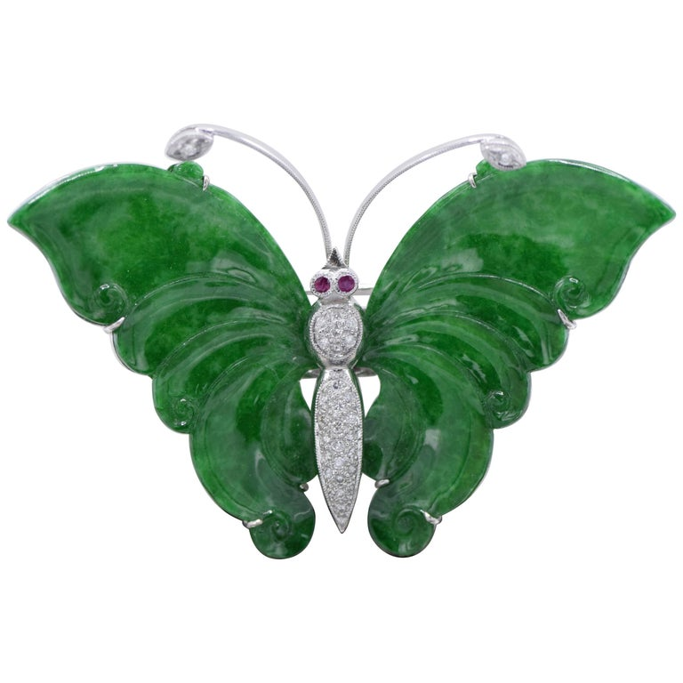 Certified Jade, Ruby, and Diamond Butterfly Pendant and Brooch For Sale