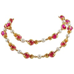 Marina B. Pink Quartz, Citrine and Pearl Long Necklace