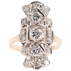 1930s Art Deco 2 Carat Diamond Shield Three-Stone Engagement Ring