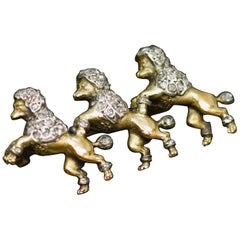"Victorian Gold Silver and Diamond Dogs Brooch ""Three Poodles"""