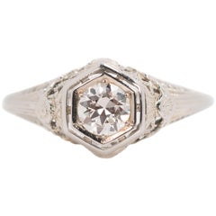 1920s 0.50 Carat Old European Diamond 18 Karat White Gold Engagement Ring