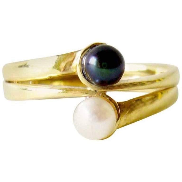 Jack Nutting Gold White Black Pearl Modernist Engagement Wedding Ring