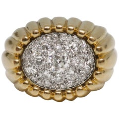 French Retro Gold Platinum and Diamond Ring