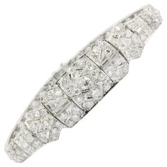 Art Deco Platinum Old European Cut Diamond Tennis Bracelet, circa 1920s