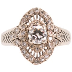 1940s 0.60 Carat Old European Diamond, 14 Karat White Gold Engagement Ring