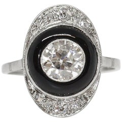 French Art Deco Platinum Onyx and Diamond Ring