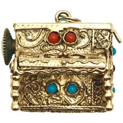 Charles Schwartz & Son Coral and Turquoise Yellow Gold Musical Piano Charm