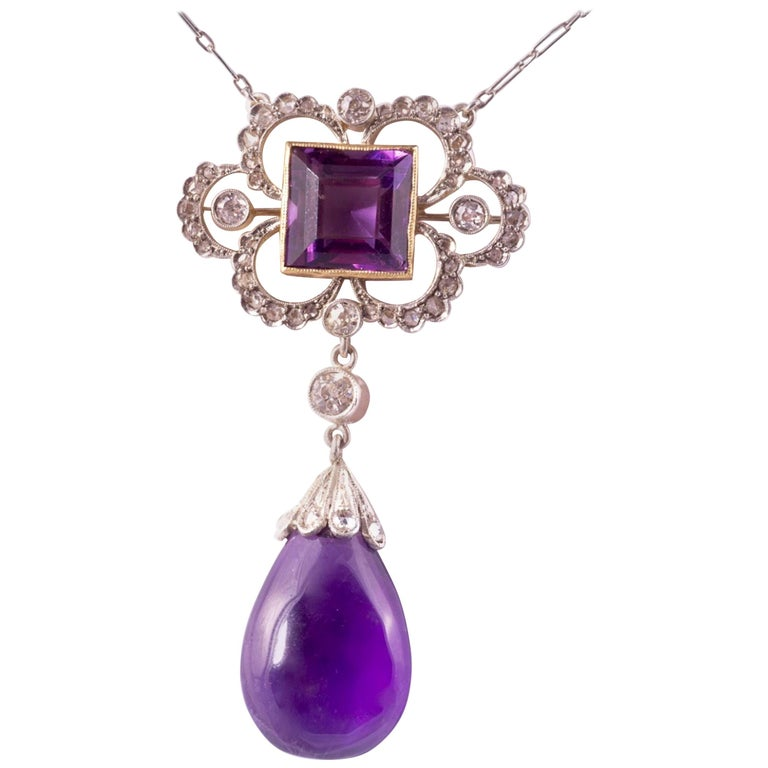 Edwardian Amethyst and Diamond Pendant For Sale